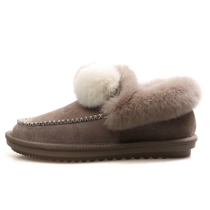 Isnom Mocassin Fourrure light De Démarrage Chaussures Des forme Chaud Mode Rond Brown Bout Bottes Femme Plate Femmes D'hiver Black Suède Neige Casual rwrqgORa