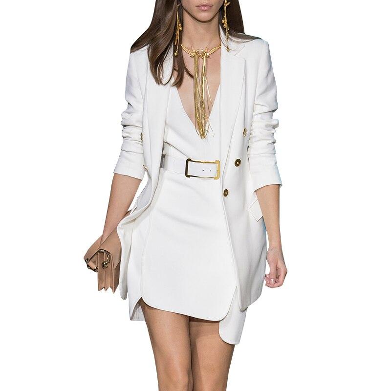 2019 unikalne oszałamiająca stylowa elegancka bluzka damska sukienka + długie marynarka jednolity kolor Runway sukienka garnitury moda stroje Twin zestawy w Garsonki od Odzież damska na  Grupa 1
