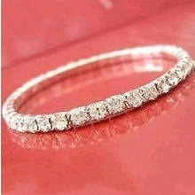Elegant Wedding Accessories Elastic 1 Row Sliver plated Crystal Bangle Bridal Bracelets