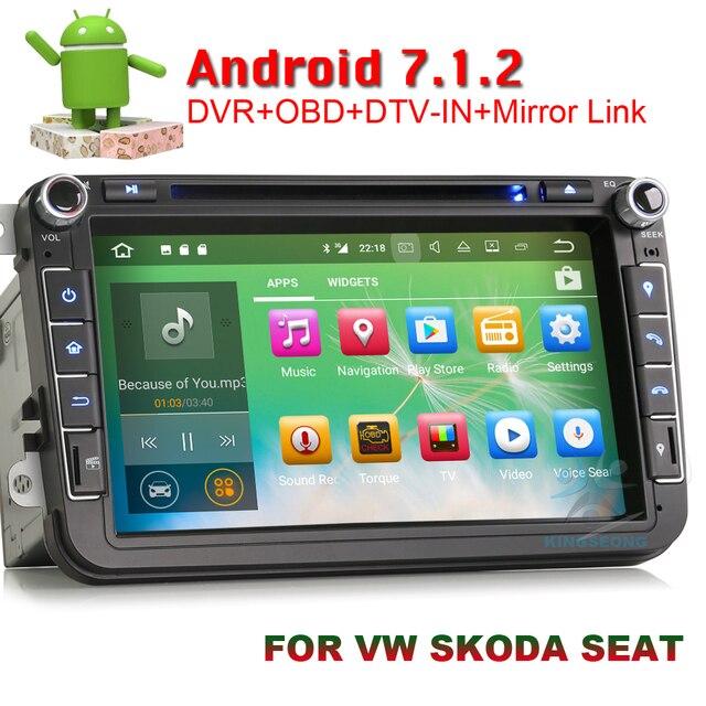 Quad Core Adnroid 7.1.2 Car DVD GPS Navigation For Volkswagen Skoda Seat Passat cc Golf Jetta Touran Altea Leon Autoradio DAB+