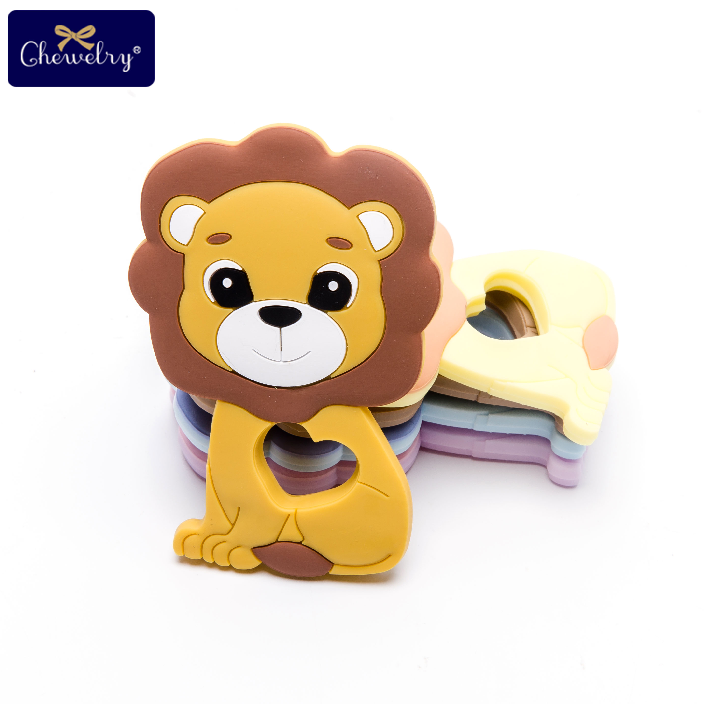5pc Baby Silicone Teether Lion Pendant Food Grade Perle Silicone Beads Teething Silicone Rodents Chewable Children'S Goods Toys
