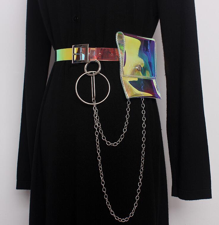 Women's Runway Fashion Metal Chain Pvc Cummerbunds Female Dress Corsets Waistband Belts Decoration Wide Belt R1628
