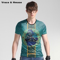 European Style Horses Pattern Fashion Big Size Blue T Shirt Summer New Arrival Ice Silk Skin