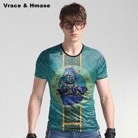 European Style Horses Pattern Fashion Big Size Blue T Shirt Summer New Arrival Ice Silk Skin