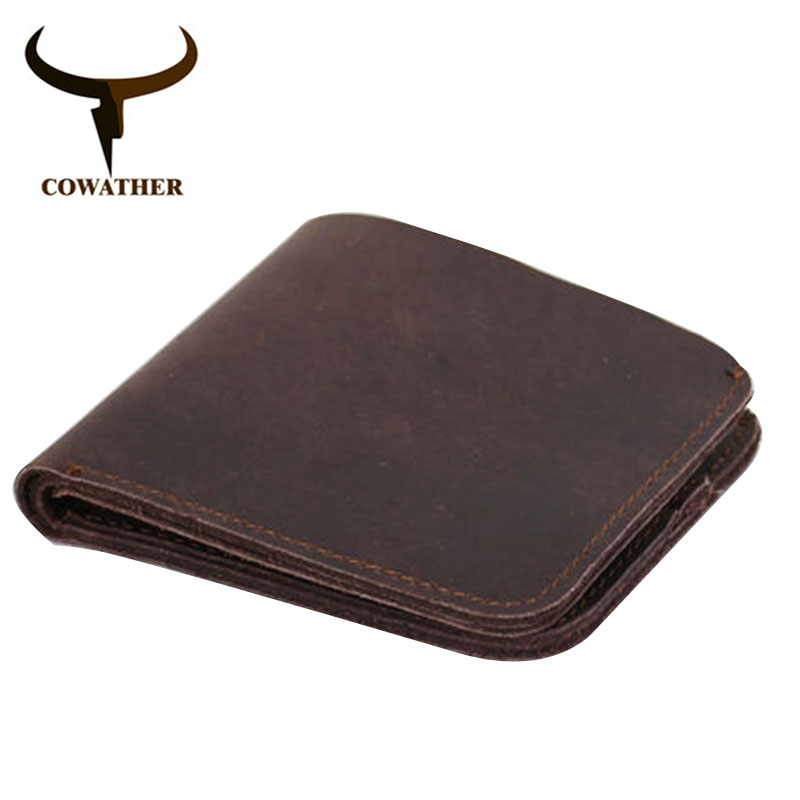 COWATHER 2019 Vintage Cross Style Cow Genuine Leather Wallets For Men Top High Quality New Craft Handmade Popular Original Brand