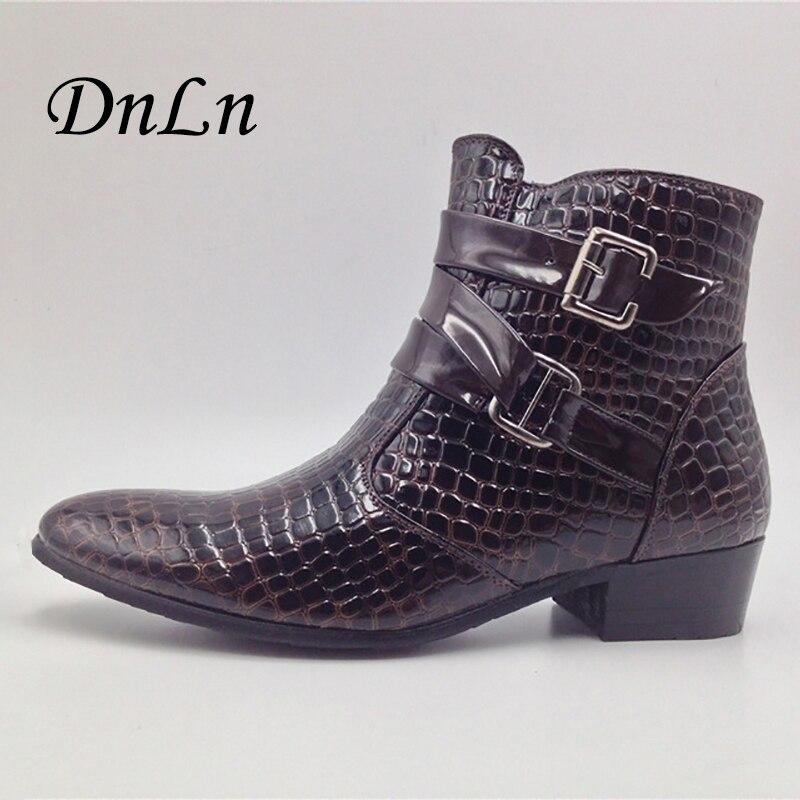 2018 Fashion Crocodile Patent Leather Men Boots Warm Men Winter Boots Men Ankle Boots Casual Men Shoes 25D50 aomardon men