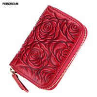 PERDREAM Rose Print Genuine Leather Card Holder for Woman Multifunctional Lady Credit Card Wallet RFID Coin Purse Clutch Bag