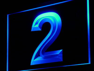 i871 2 Number Two Display Decor Decor Neon Light Sign On/Off Swtich 20+ Colors 5 Sizes