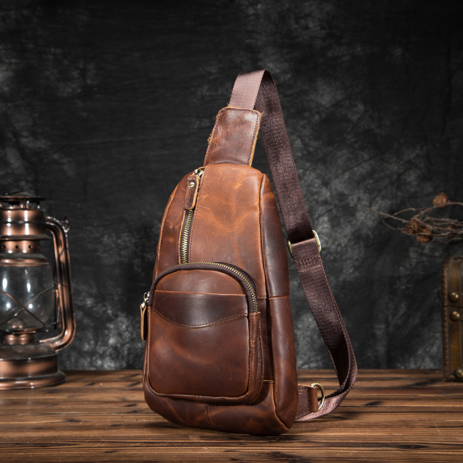 Crazy Horse Leather Men Casual Travel Triangle Chest Sling Bag Design 8