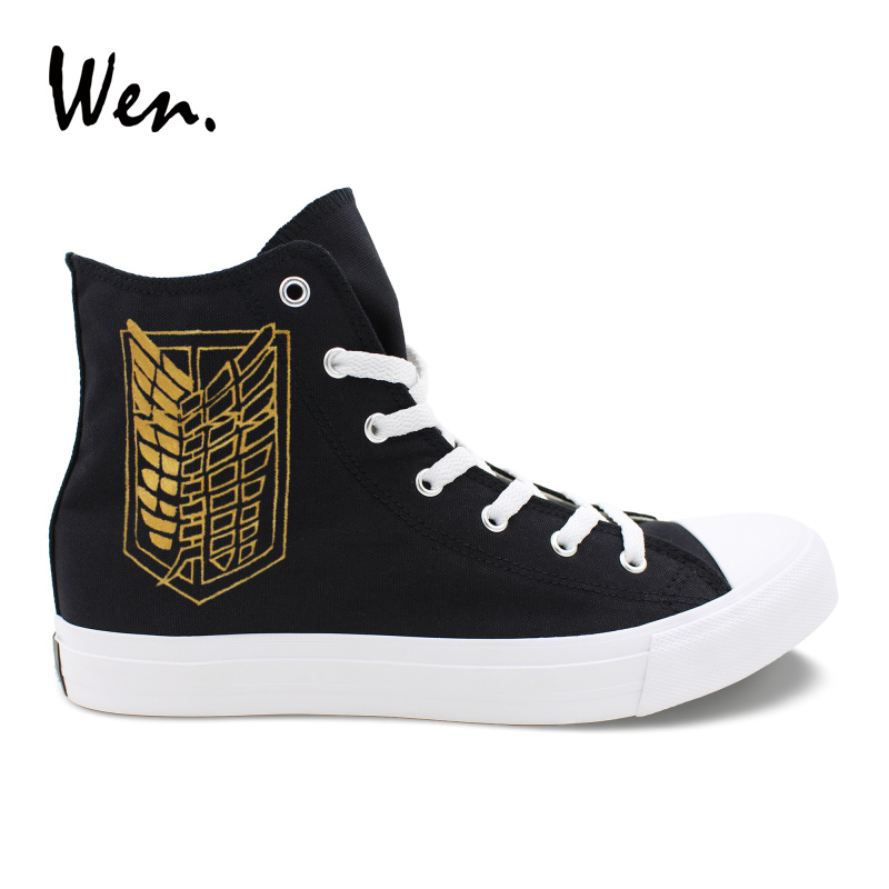 Wen Hand Painted Anime Shoes Design Custom Attack on Titan High Top Black Canvas Sneakers Boys Girls Flats Breathable Plimsolls wen original high top sneakers steam punk hand painted unisex canvas shoes design custom boys girls athletic shoes gifts