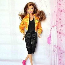 Fashionable Handmade Toy  Jacket Coat and Black Casual Jumpsuit Clothes Outfit for Barbie Doll Great Toys For Children Gift