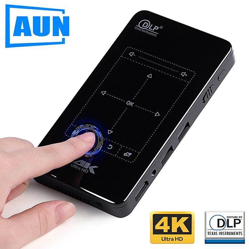 AUN MINI Projektor D7. (Speicher 2g + 16g Optional) Eingebaute Android WIFI, 4,000 mah Batterie, HDMI. Tragbare Projektor unterstützung 4 karat, 1080 p