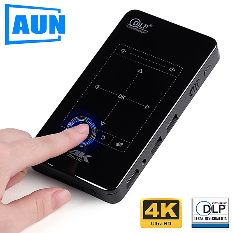 AUN MINI Proyector D7. (Memoria 2G+16G opcional) Wi-Fi incorporado, batería de 4.000mAH, HDMI. Soporte de proyector portátil 4K, 1080P