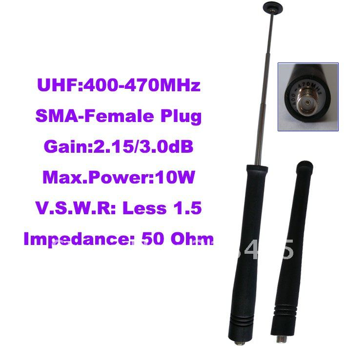 Promtion UHF:400-470MHz SMA-Female Telescopic Antenna For Portable Two-way Radio(SMA-Female Connector)