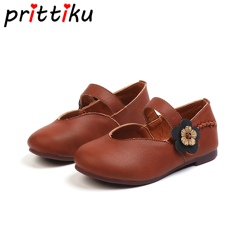 Autumn 2018 Toddler Girl Genuine Leather Floral Flats Little Kid Brown Mary Jane Loafers Big Children Casual Retro School Shoes soccer shoe toddler little kid big kid synthetic leather upper rubber soles 31 44casual outdoor indoor light weight running