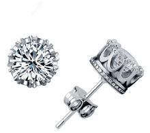 2015 new arrived 925 sterling silver bring round Natural crystal zircon earring stud for women wedding jewerly promotion