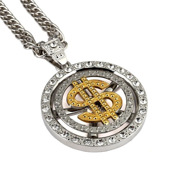 Hip hop chunky necklace rock hiphop bling bling US dollars Can be rotated  long choker necklace big Pendant gold chain for men d647009aaeaf