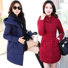 Специальный хлопок женщины зима Корейской версии долгосрочной пункт утолщение хлопка-ватник большой размер Тонкий вскользь куртка