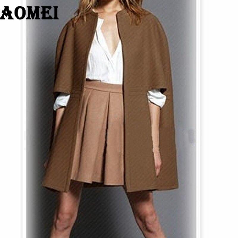 Vêtements Travail Col Fourrure Féminin Bureau Au Horloge Camel Lâche Outwear Hiver Cape Mode Porter Manteau Automne Laine Amovible Dame ntPwxZpq80