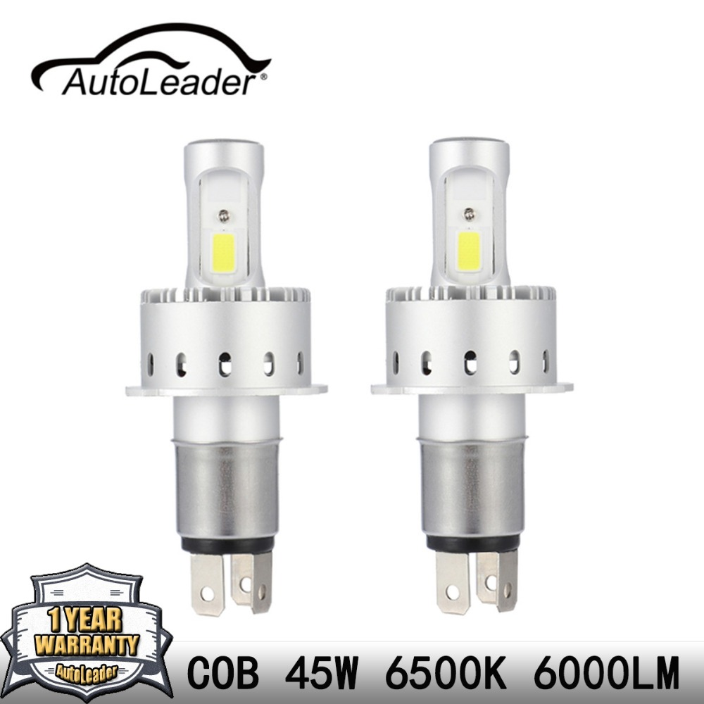 AutoLeader 7P H4 H7 H11 1Pair LED Car Headlight COB Chips H1 9005 9006 45W Car
