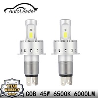 AutoLeader 1Pair 7P LED Car Headlight COB Chips H1 H4 H7 H11 9005 9006 45W Car