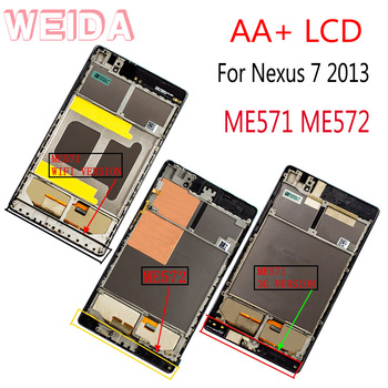 цена на WEIDA For Asus Google Nexus 7 2nd Gen Nexus7 2013 ME571 LCD Touch Screen Assembly Frame ME571K ME571KL ME572
