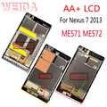 WEIDA Per Asus Google Nexus 7 2nd Gen Nexus7 2013 ME571 LCD Touch Assemblea di Schermo Con Cornice ME571K ME571KL ME572