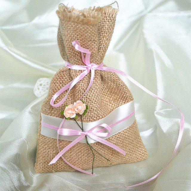 1 Pc Candy Bags With Small Flower Outside Wedding Birthday Party Supplies Decoration Hemp Packets Jute