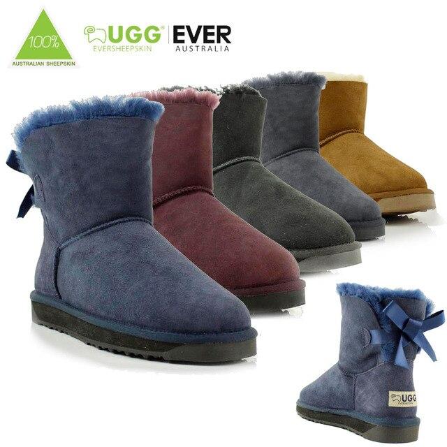 5077cfa289 Ugg Eversheepskins Women Snow Boot Sheepskin 100% Wool Ladies Mini Bailey  Bow Fashion Winter Boots Shoes Round Toe Flat  11737