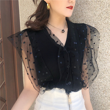 Summer Women's Knitting Tank Crop Tops Patched Dot Mesh Mesh Girls Fairy Chic Short Tanks Cardigans For Woman