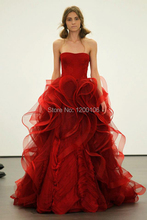 Brautkleid Wine Red Ball Gown Wedding Dresses Made in China with Ruffles Tiers Sexy Backless Bride Dress 2015