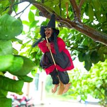 Hanger Horror Riding Broom Witch Figurine Sound Control and Touch Sensing Luminescence Halloween Decoration Hanging Ornaments