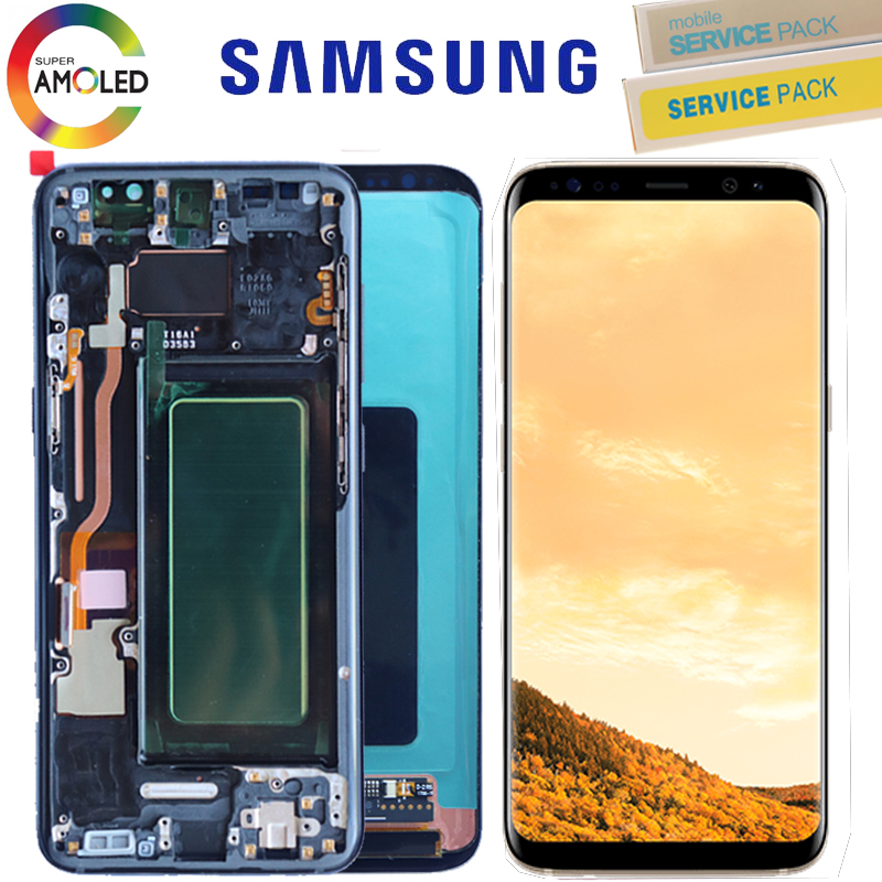 ORIGINAL LCD with Frame For SAMSUNG Galaxy S8 Display S8 Plus G950 G950F G955 G955F Touch Screen Digitizer Assembly