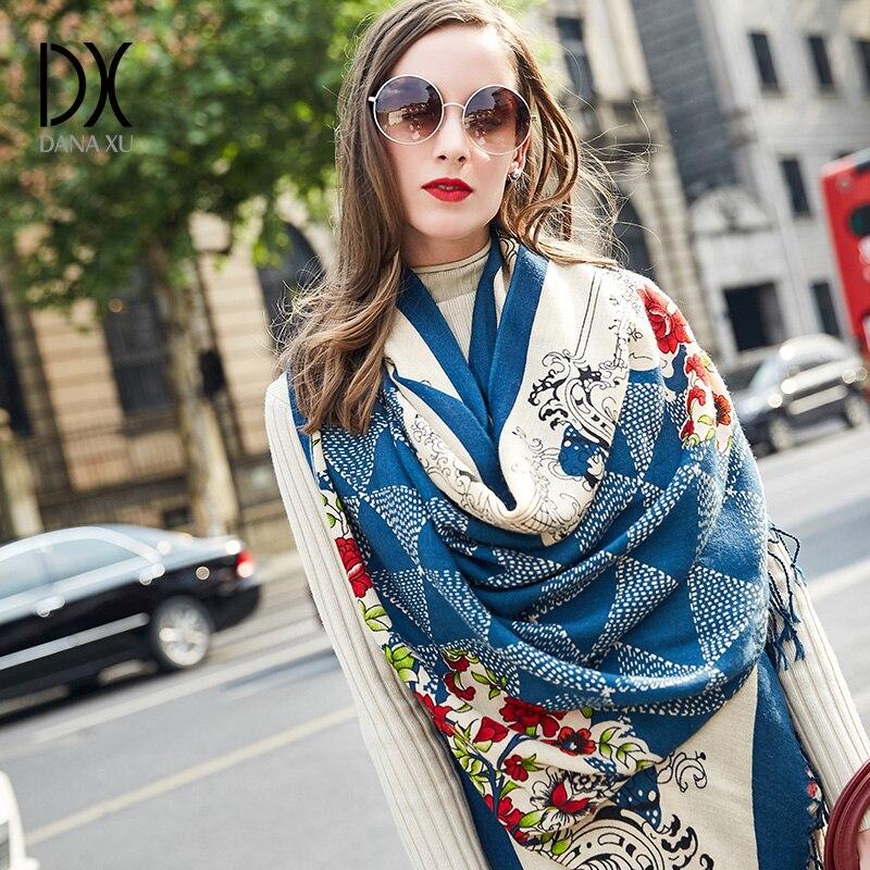 2019 nouvelle écharpe d'hiver foulards pour femmes marque de luxe Pashmina Poncho couverture écharpe Wrap laine femmes Bandana musulman Hijab châle