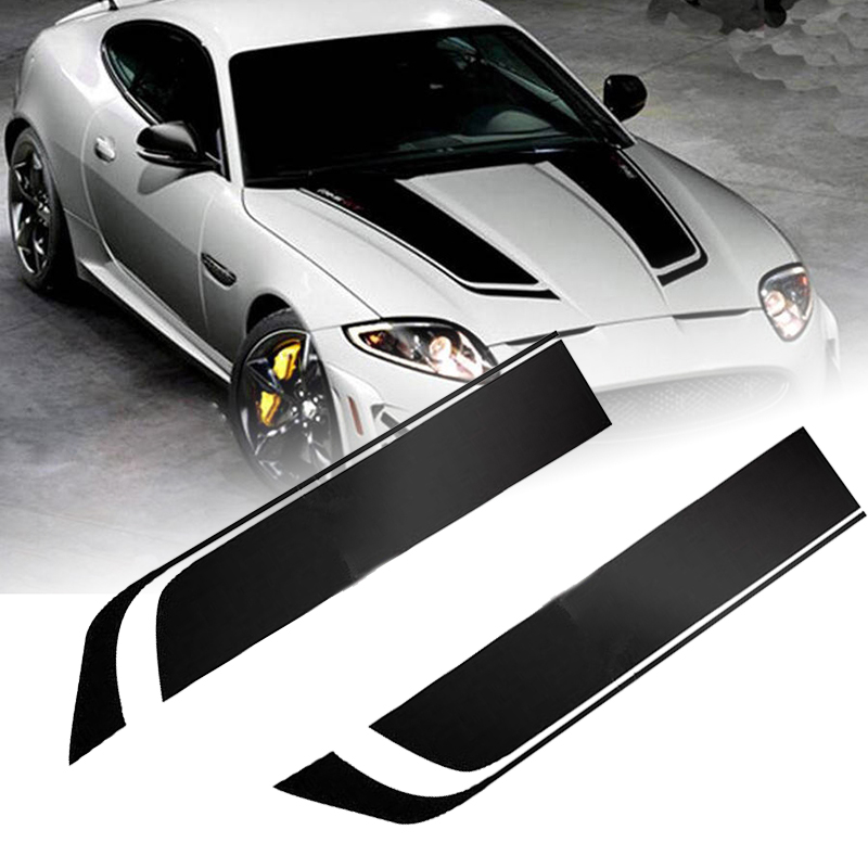 2pcs 85cm Black Racing Sports Stripe Sticker Universal Car Hood Bonnet Vinyl Decals Car-Styling Stickers Mayitr