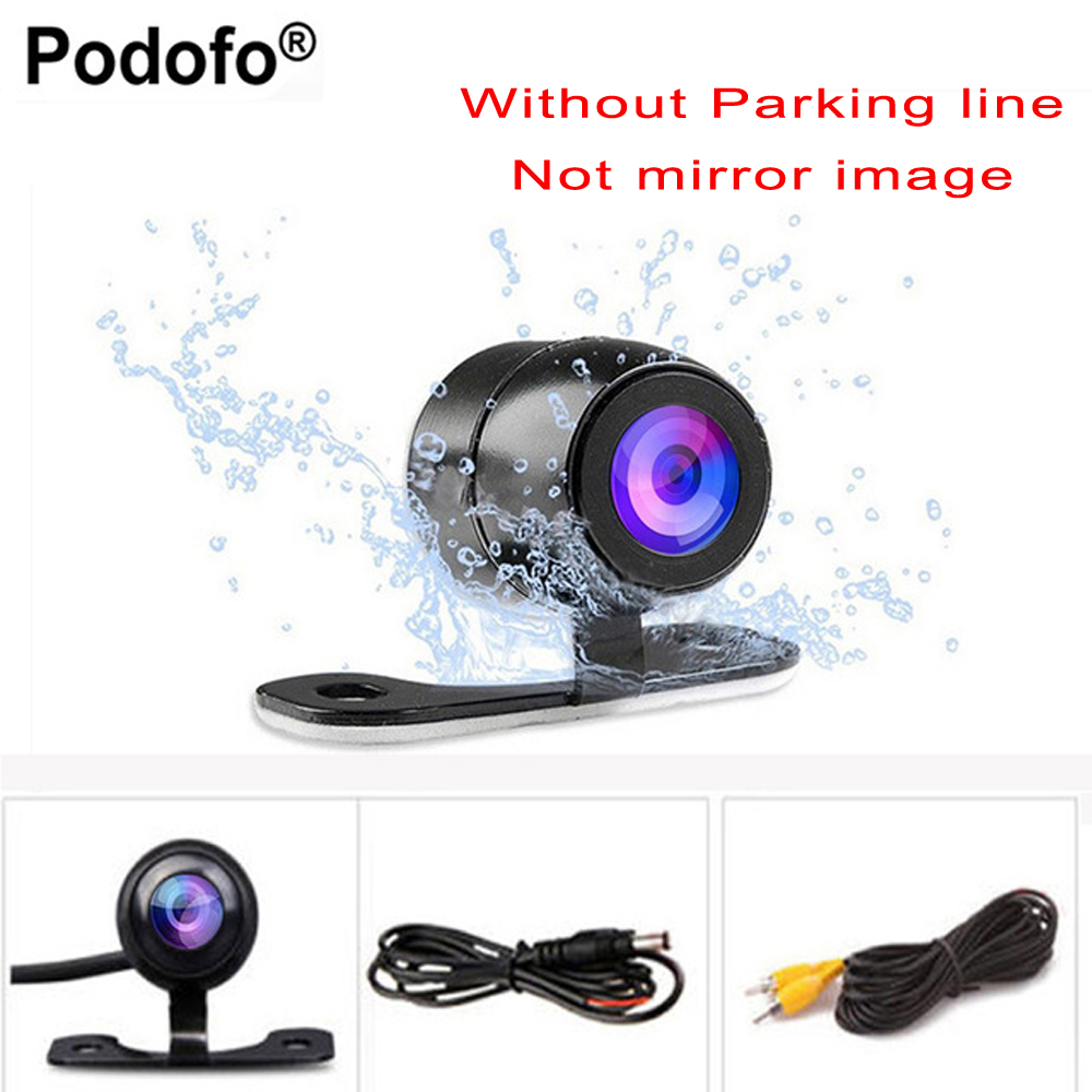 Podofo Auto CCD HD cámara de visión frontal cámara de visión trasera Monitor trasero asistencia de aparcamiento Cámara impermeable reversa
