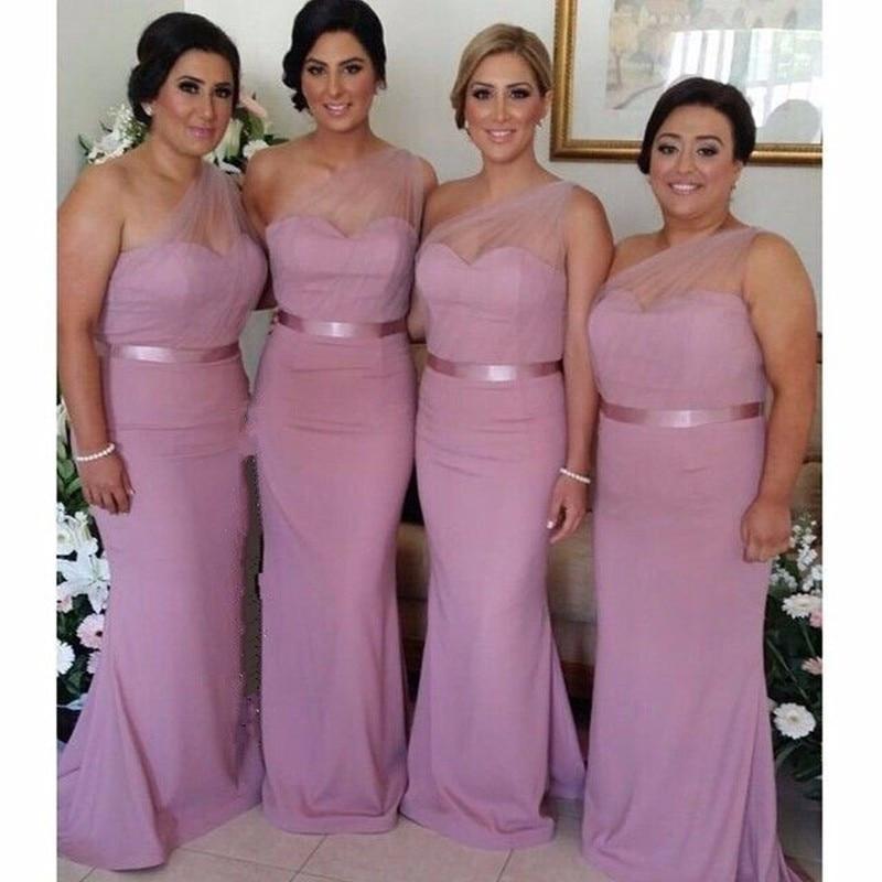 Elegant Pastel Pink One Shoulder Mermaid Floor Length Chiffon Bridesmaid Dress For Beach Wedding 2016 In Dresses From Weddings Events On