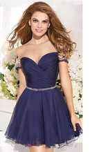 2015 A-line V-ausschnitt Flügelärmel Navy Blue Chiffon Perlen Open Back Short Mini Homecoming Kleider Unter 30 Cocktailkleider