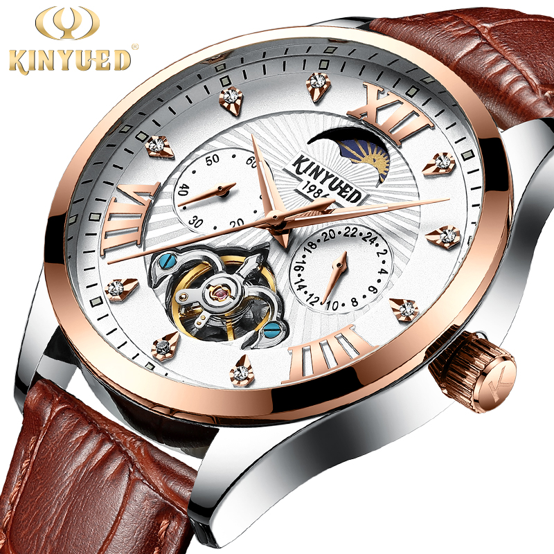 KINYUED Men Watch Mechanical Wristwatches Automatic Tourbillon Business Casual Leather Moon Phase Sports Watches Horloges Mannen|Mechanical Watches| |  -