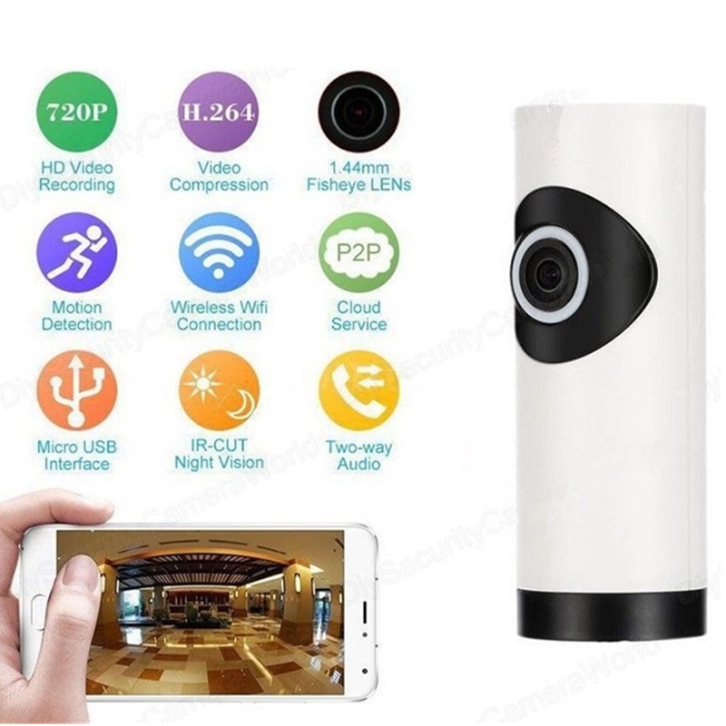 720P Wifi Panoramic Camera 360 Degree Fish-eye Smart Home Security Surveillance Baby Monitor Webcam Wireless Night Vision Camera image