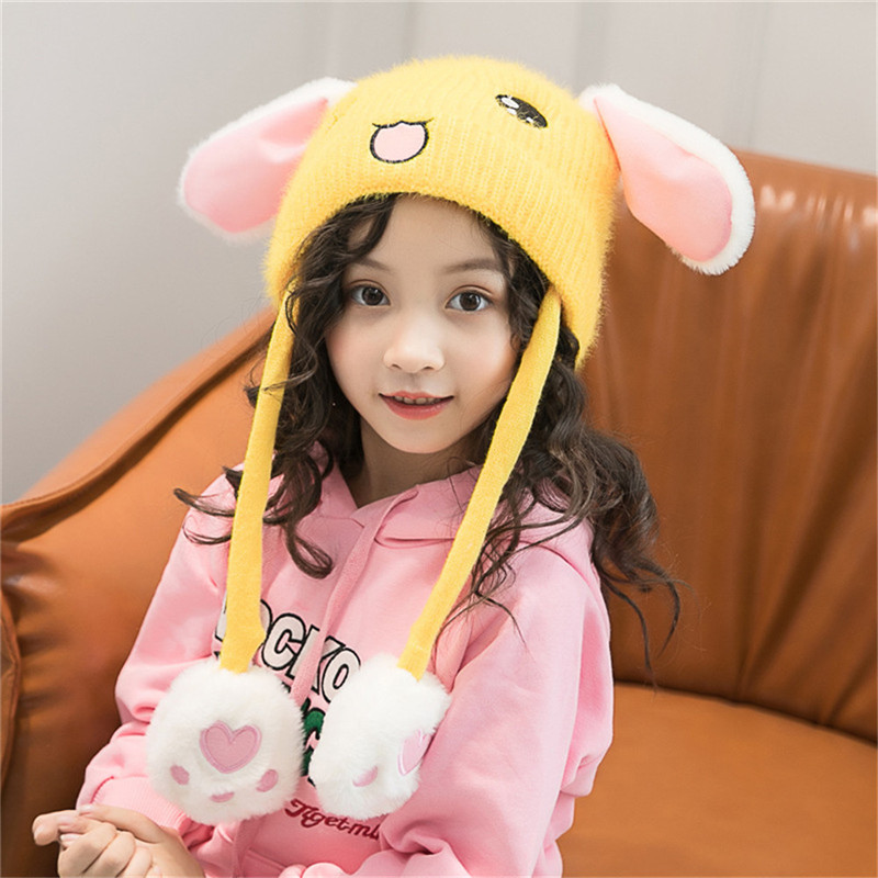Electric Soldering Irons Obedient Childrens Vibrating Wool Caps Pinch Long Ears Bunny Will Move Baby Hat Boys And Girls Warm Toy Cap
