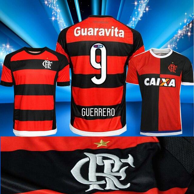 Nuevo 15 16 Flamengo inicio fUtbol 2015 2016 flamenco flamenco del Flamengo  guerrero fUtbol camisetas de insignia bordado 75db059baca1e