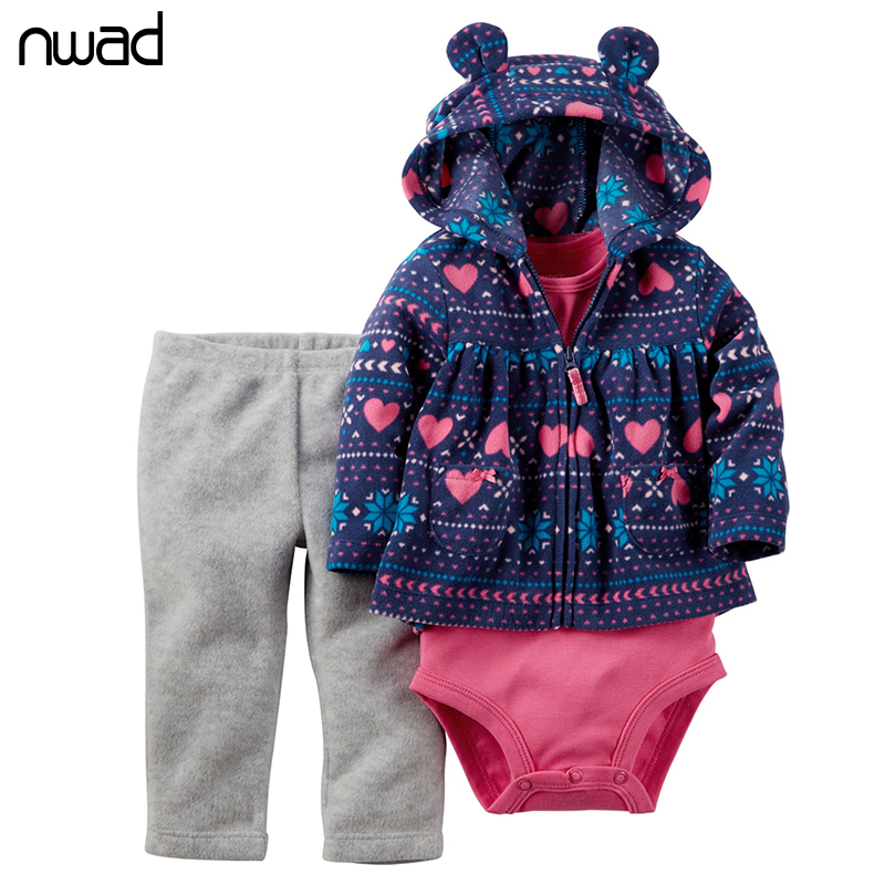 NWAD Newborn Baby Girl Clothes Polar Fleece Winter Toddler Kids Clothing Set Bodysuit + Pants+Coat Infant Costume FF143 newborn baby rompers autumn winter package feet baby clothes polar fleece infant overalls baby boy girl jumpsuits clothing set