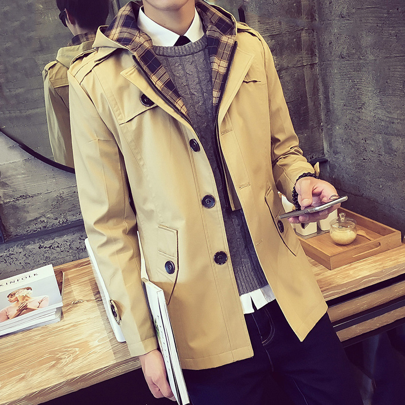 moderate cost top design variety of designs and colors Trench Jacket Men Long Raincoats Large Size Military ...