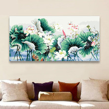 DIY Paint By Numbers Lotus pond scenery  leaf horizontal pictures Paintings draw by numbers art paint for modern hoom decor