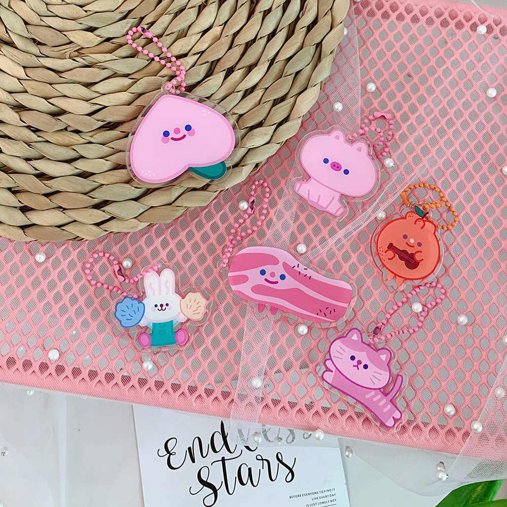 Cute Cartoon Pink Cat Bear Keychains For Women Girls Car Bag Key ring Funny Peach Key Chains Fashion Jewelry Gift Key Holder