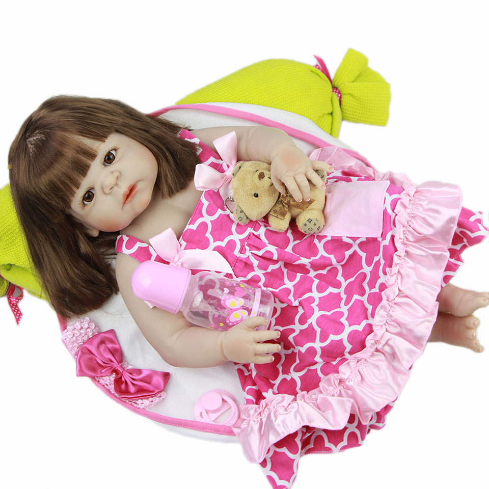 New Full Silicone Vinyl Reborn Baby Doll Toys 23'' Alive Real Life Babies Girl Dolls Long Hair Pink Dress Boneca bebe Reborns fashion luxury brand women watches women crystal stainless steel analog quartz wrist watch bracelet female montre femme