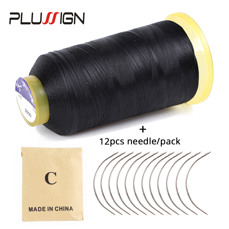 Plussign Hot Sell 12Pcs 6Cm Length C Type Weaving Needles Curved Needles And 1 Roll Spools Of Weaving Thread For Hair Weft