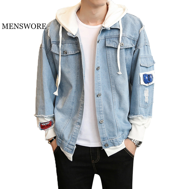 d254ea5f529 MENSWORE Mens Designer Jackets Winter Jeans Jacket Men Fake Two Piece  Hooded Denim Coats Fashion Winter Outerwear 3XL