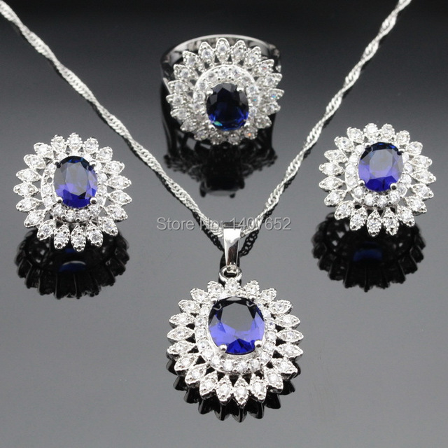 Made in China Blue Imitated Sapphire Jewelry Sets For Women Flower Silver Color Necklace Pendant Ring Earrings Free Gift Box